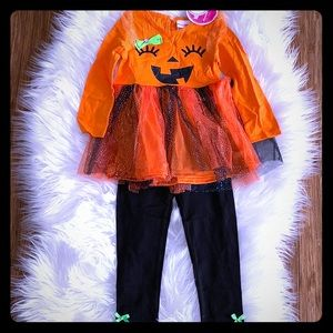 Smiley Pumpkin Ruffle Tunic with Leggings Set